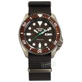 SEIKO 精工 / 4R36-07G0E.SRPD85K1 / 5 Sports 機械錶 自動上鍊 尼龍帆布手錶 褐x古銅金框x褐 41mm