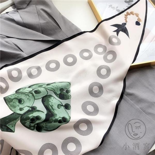 百搭薄款紗巾頭巾圍脖斜紋氣質裝飾圍巾韓國領巾女絲巾【小酒窝服饰】