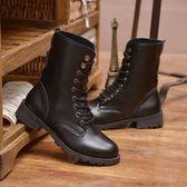男士馬丁靴加絨保暖英倫韓版軍靴中筒高幫男靴子冬季棉靴防水皮靴『摩登大道』