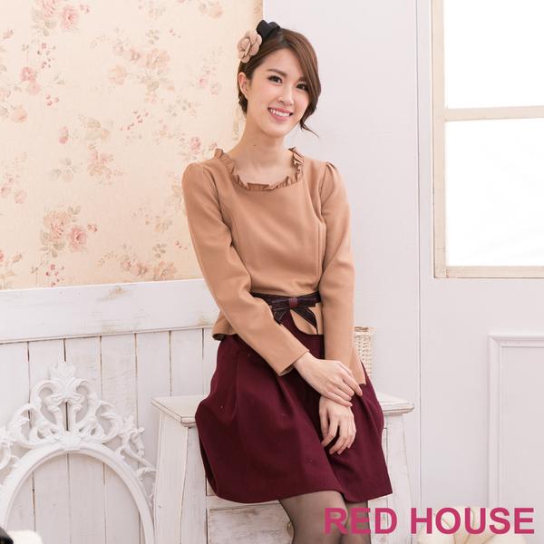 【RED HOUSE-蕾赫斯】荷葉領蝶結洋裝(共二色)(無附腰帶)