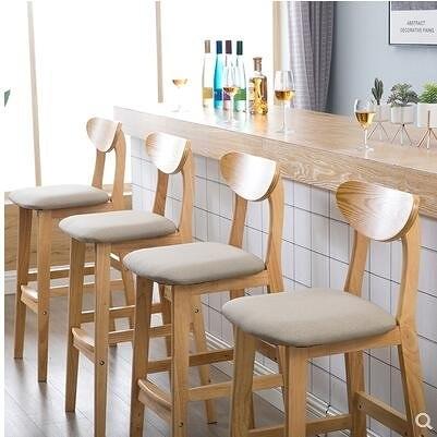 實木靠背吧檯椅現代簡約前臺酒吧家用北歐復古高腳凳子-J