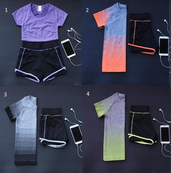 春夏新款運動套裝女士速幹跑步運動健身胸罩短褲組合瑜伽套裝  -124820010