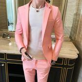 薄款夏裝網紅套裝男一套帥氣小西裝青年韓版修身學生夜場潮西服 GB5653『小美日記』