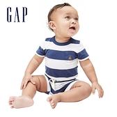 Gap嬰兒 清爽條紋透氣短褲 939854-藍色條紋