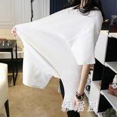 孕婦上衣短袖t恤女寬鬆韓版孕婦裝夏裝上衣棉質中長款白色zzy1227『雅居屋』