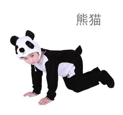 熊孩子☃兒童成人動物表演服裝動物連體服小雞猴兔牛狗貓狼鼠演出服(熊貓)
