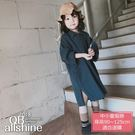 女童洋裝 韓版開扣開岔寬鬆長版襯衫連身裙 QB allshine