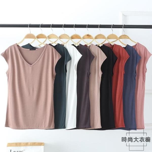 ALB-莫代爾純色V領無袖寬鬆女士T恤休閒打底上衣夏季韓版【時尚大衣櫥】