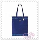 ♥小花花日本精品♥ Hello Kitty 提袋 手提袋 購物袋 外出袋 藍色格紋 立體金色LOGO (預購)