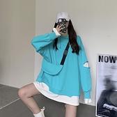 春季2021新款韓版百搭拼接炸街衛衣女寬鬆破洞上衣假兩件連帽外套  【夏日新品】