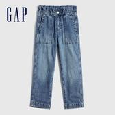 Gap女童 時尚荷葉邊鬆緊牛仔褲 609837-水洗藍