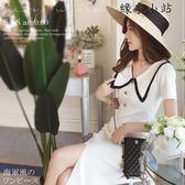 海軍風針織連身裙長裙