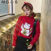 韓版百搭可愛高領長袖毛衣