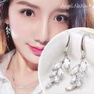 銀針耳環《可改耳夾式》《可改S925銀針》A閃亮鋯石樹葉水鑽垂墬式耳鈎 (SRA0071) AngelNaNa