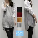 【V0130】shiny藍格子-風格穿搭.毛線鈎花V領馬甲中長款毛衣背心
