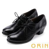 ORIN 英倫街頭時尚 復古牛津皮料綁帶粗跟踝靴-黑色