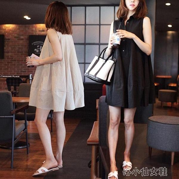 無袖大碼洋装 棉麻洋裝女2020韓國寬松大碼學生無袖a字娃娃裙小清新公主裙夏 新年禮物