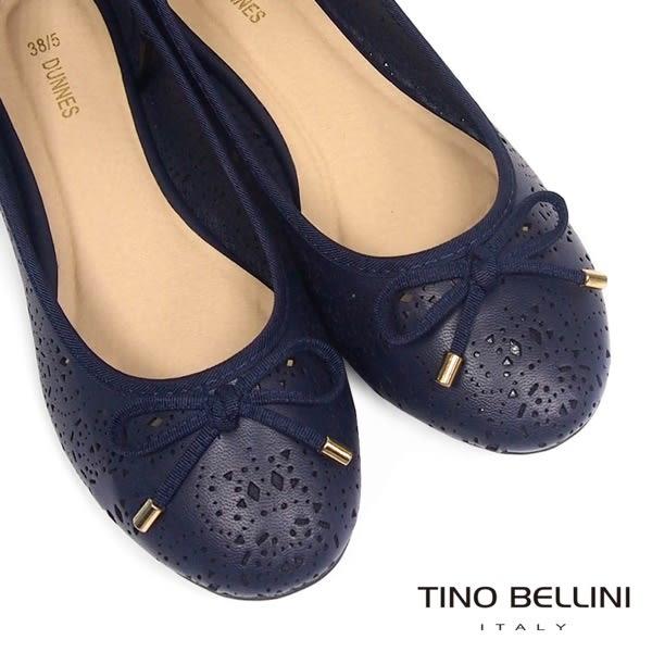 ★零碼出清★Tino Bellini 典雅精雕鏤空娃娃鞋(藍)_A63087 2016SS 網路限定價