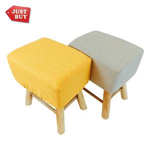 【JUSTBUY】北歐實木方形布質椅凳(套可拆洗)芥末黃 化妝椅 穿鞋椅 腳凳 矮凳