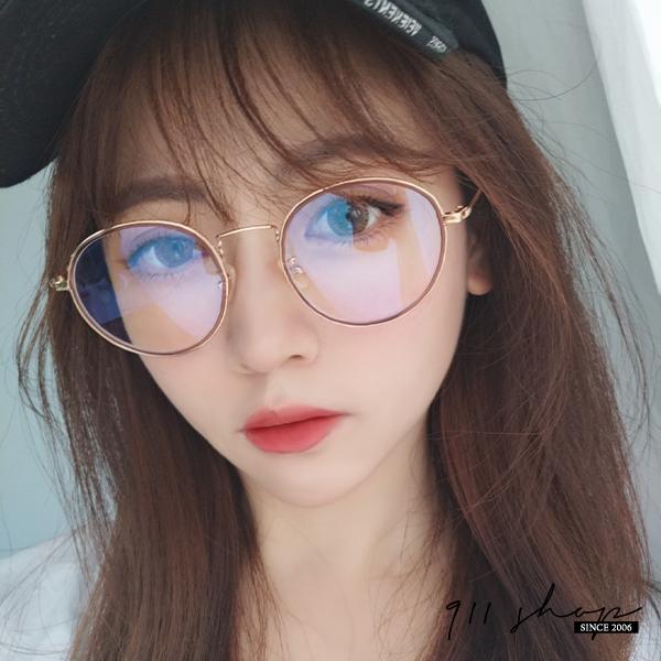 Gaze.TR90塑膠鈦透明小橢圓夾心細框藍光平光眼鏡配鏡框【p6045】911 SHOP
