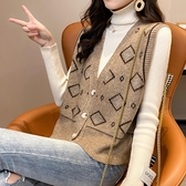 毛衣背心外套 針織馬甲背心女外穿2021年秋裝新款韓版無袖毛衣開衫外套【快速出貨八折搶購】