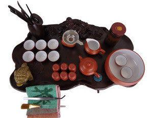 宜興紫砂茶具  帶圓形實木茶盤