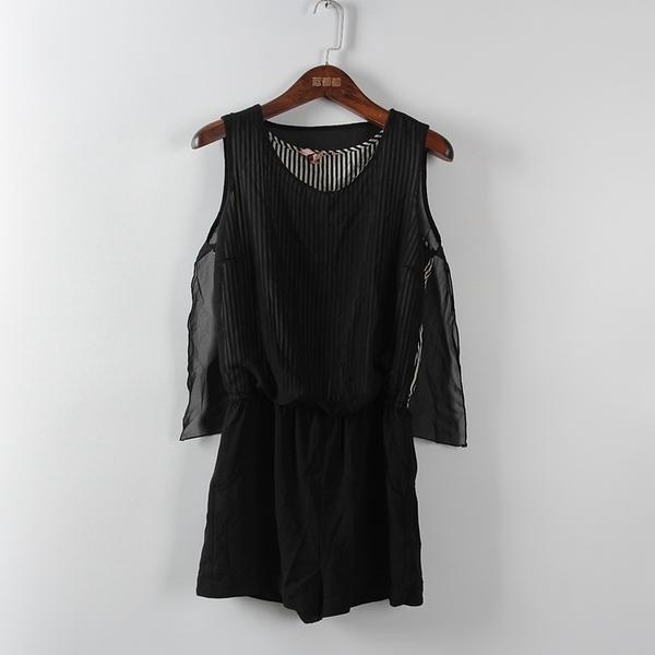 [超豐國際]拉春夏裝女裝黑色簡約時尚連體短褲 散82854(1入)