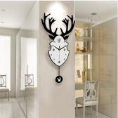 【衫衫來時】搖擺鹿歐式個性北歐創意客廳簡約鐘錶裝飾時鐘