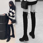 新款過膝長靴女秋冬平底靴子長筒靴