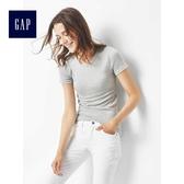Gap女裝 莫代爾休閒基本款修身女士短袖T恤 彈力柔軟上衣女 241902-石楠灰