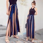 夏季薄款側開叉條紋雪紡褲裙寬鬆沙灘褲女長褲 BF2799『寶貝兒童裝』