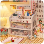ins少女心桌面抽屜式學生宿舍化妝收納盒桌上膠帶文具書桌置物架「安妮塔小鋪」