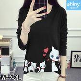 【V2582】shiny藍格子-可愛俏甜‧貓咪愛心印花圓領長袖上衣