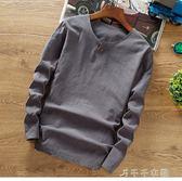 中國風男裝秋季亞麻料T恤中式復古上衣純棉麻布長袖純色t桖小衫潮「千千女鞋」