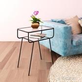 北歐鐵藝床頭柜簡易創意網紅床邊幾鋼化玻璃沙發床頭邊 【快速出貨】