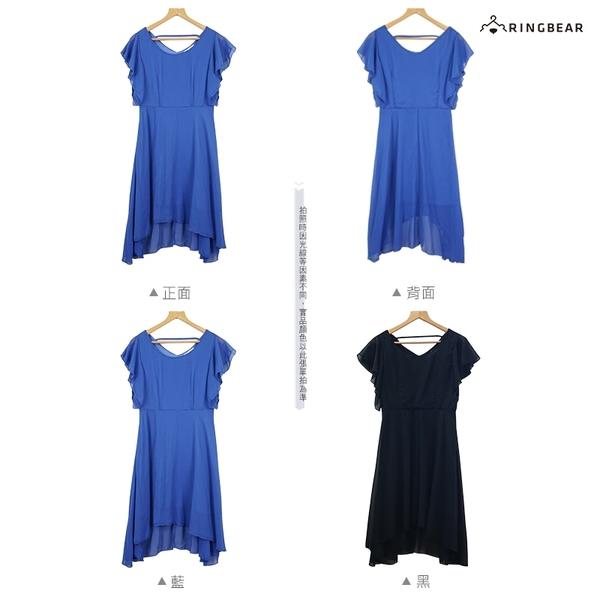 連身裙--典雅氣質荷葉袖襬腰線前短後長裙身雪紡圓領洋裝(黑.藍L-3L)-D596眼圈熊中大尺碼
