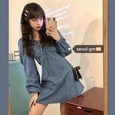 牛仔洋裝韓風chic復古甜美洋氣長袖燈籠袖系繩寬鬆短款牛仔連身裙女 伊蒂斯