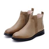MICHELLE PARK 風潮指標 皮革拼接低跟短靴-棕綠