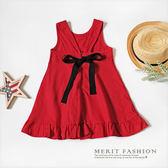 甜美背後蝴蝶結荷葉裙擺洋裝 連身裙 無袖 洋裝 女童 紅色  蝴蝶結哎北比童裝哎北比童裝