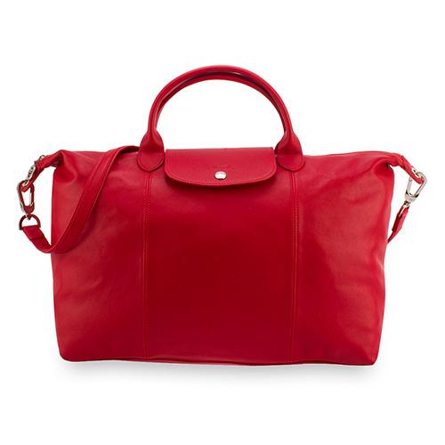 LONGCHAMP Le Pliage Cuir小羊皮短把折疊大型水餃包(紅色)480198-045