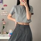 短款上衣 短款純色短袖T恤女夏裝正韓潮學生高腰露臍寬鬆半袖上衣服-Ballet朵朵