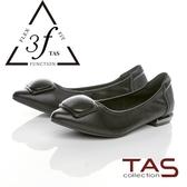 TAS幾何包釦羊皮娃娃鞋-百搭黑