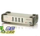 [8美國直購] 交換機 ATEN 4-Port USB 2.0 KVMP Switch with Audio Support and Cables CS1734B (Silver)