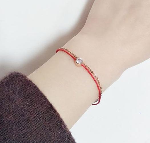手鍊/腳鍊 簡約單鑽紅線造型手鍊【TSEW965】 BOBI  03/24