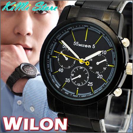 WILON 威龍 炫黑極酷仿三眼賽車款手錶 agnes b 相似款 型男錶 女錶 中性錶 對錶 【KIMI store】