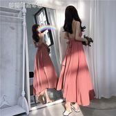 復古氣質性感露背綁帶禮服雪紡超大裙擺吊帶洋裝寬鬆百搭長裙女〖夢露時尚女裝〗