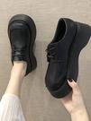 鬆糕鞋 小皮鞋女英倫風秋季女鞋韓版百搭厚底鬆糕休閒鞋增高單鞋 晶彩