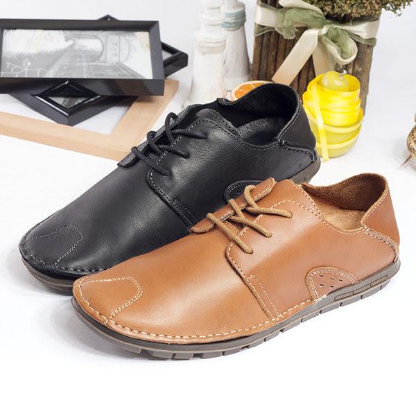 WALKING ZONE 真皮自然剪裁英倫皮革開車鞋綁帶-棕
