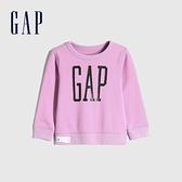 Gap女幼童 碳素軟磨系列 Logo刷毛圓領休閒上衣 656445-淡紫色