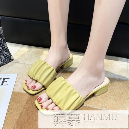 女士拖鞋外穿時尚網紅中跟一字拖2021新款夏季百搭粗跟涼拖ins潮 夏季新品